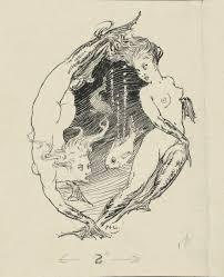 norman lindsay 1879 u20131969 fish swimming between two mermaids c