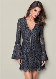 lace dresses bell sleeve lace dress in blue multi venus