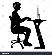 Office Chair Clipart Vector Silhouette Woman Who Sits Office Stock Vector 299619434