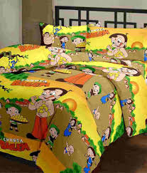 3d Print Bed Sheets Online India Cartoon Prints Chhota Bheem Double Bed Sheet With 2 Pillow Covers