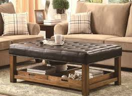 gray leather ottoman coffee table square black leather ottoman coffee table with metal nail accent and