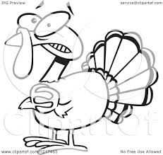 clipart of an outlined scared cartoon turkey bird clasping his