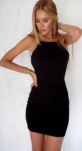 pure color backless short bodycon little black dress