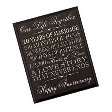 20th wedding anniversary gift 20th wedding anniversary wall plaque gifts for 20th