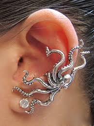 ear clasp octopus ear cuff silver octopus ear cuff octopus earring octopus