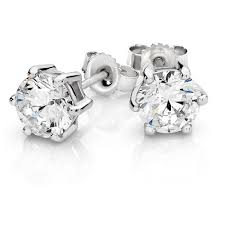 white gold studs stud earrings with cubic zirconia in 10kt white gold