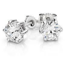 cubic zirconia earrings stud earrings with cubic zirconia in 10kt white gold