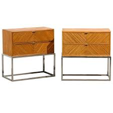 rare pair of milo baughman bamboo and chrome end tables night