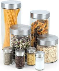 Kitchen Canisters Online by Amazon Com Cook N Home Glass Canister And Spice Jar Set 8 Piece