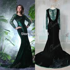 turmec dark green long sleeve prom dress