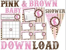 pink and brown baby shower pink and brown baby shower printable invitation decorations