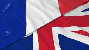 flags of france and the united kingdom split french flag and