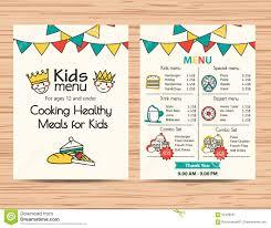 Kids Designs by Kids Meal Menu Vector Template Restaurant Menu Design Stock