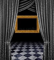 a fantasy room interior backdrop with checkered flooring and a