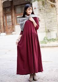 cotton dress casual loose dress linen winter long blouse printed