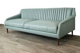 teal blue leather sofa mid century modern style sofa modshop modshop