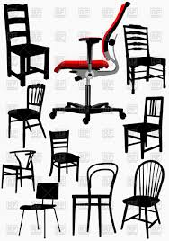 collection home and office wooden chair silhouettes vector