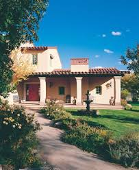 Santa Fe Style House Lack Of Arches But It Has Pillars And Flat Roof With Corbels