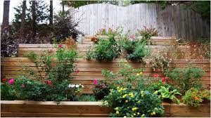 terraced backyard landscaping ideas patio garden design wooden container garden on white ceramic floor