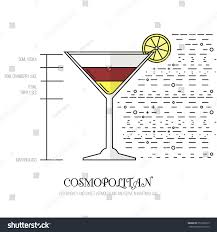 cosmopolitan recipe cosmopolitan thin flat line style cocktail stock vector 351528275