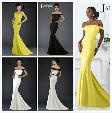 off shoulder prom dresses 2017 janique mermaid white black yellow
