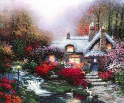 kinkade evening at swanbrooke cottage thomashire painting
