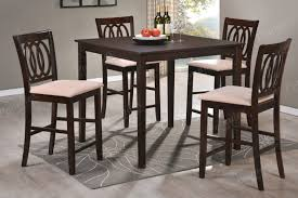 high table with four chairs furniture square dark brown wooden high top table set with four