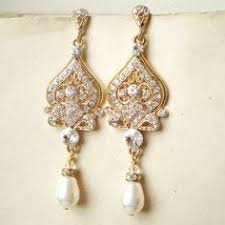 gold bridal earrings chandelier chagne pearl bridal earrings chandelier wedding earrings