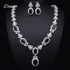 stone necklace sets images Dokol fashion green stone women necklace sets silver color cz jpg