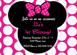 Invitation Cards For Birthday Party For Adults Minnie Mouse Birthday Party Invitations Cloveranddot Com