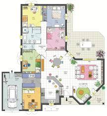 plan maison 3 chambre plan maison 3 chambres impressionnant plan maison en l avec 3