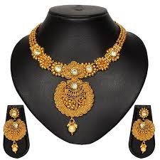 bridal necklace earring images Buy pourni traditional golden finish necklace set with stunning jpg