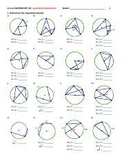 inscribed angles g c a 2 worksheet 6 geometrycommoncore name 1 1