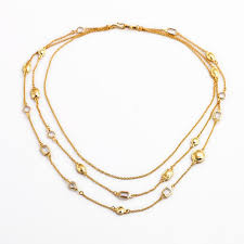 gold stone necklace images Gold stone 3 chain necklace hello supply modern jewelry jpg