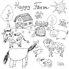 happy farm doodles icons set hand drawn sketch with horse cow
