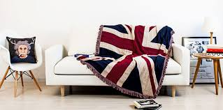 Sofa Blankets Throws Tassels Union Jack Star Spangled Banner Soft Sofa Blanket Throws