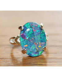 opal stones rings images Bargains on genuine australian opal ring mosaic opal ring sterling