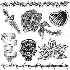 tattoo designs heart knife rose flame stock vector art 165594758