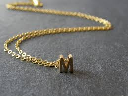 gold necklace with letters images Initial letter m necklace matt gold personalized necklace jpg