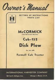 cub 152 disc plow 1950 manual