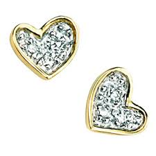 9 carat gold earrings 9 carat gold childrens d for diamond heart stud earrings