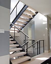 home interior railings extensive modern staircase with cable railing by stainless cable