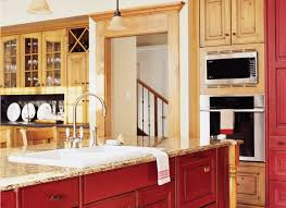 Staggered Cabinets Rustic Kitchen With Red And Tan Wood Color Scheme By Drury Design
