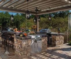 stone kitchens design exteriors chic outdoor kitchen design with l shape brown