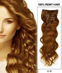 hair extension 22 light brown 7 pieces wave clip in indian remy human hair