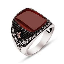 mens sterling rings images Red agate stone sterling silver men 39 s ring ottasilver jpg