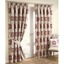 Sale Ready Made Curtains Floral Jacquard Lined Pencil Pleat Curtains Red