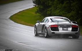 Audi R8 Silver - silver r8 enjoying the rain