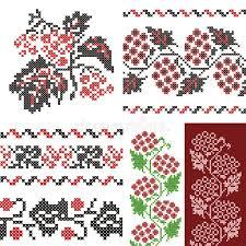 ukrainian ornaments vintage embroidery ukrainian ornaments set stock vector