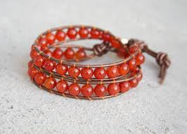 red wrap bracelet images Red leather wrap bracelet carnelian beads and brown leather red jpg